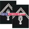 Grenades de col argent par paire brodées main pour vareuse