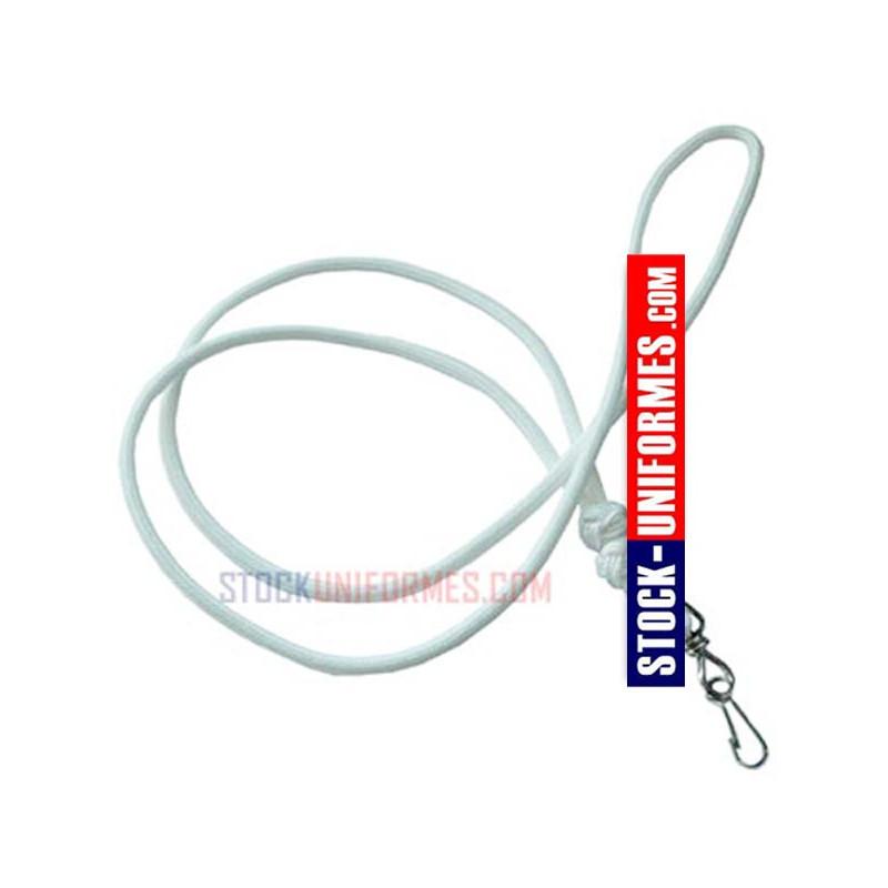 Codon nylon blanc avec mousqueton pour sifflet gendarmerie