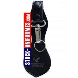 Porte mousqueton cuir noir gendarmerie