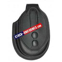 Porte menottes étui en cuir noir moulé et kevlar