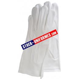 Gants blanc coton 3 baguettes de cérémonie gendarmerie