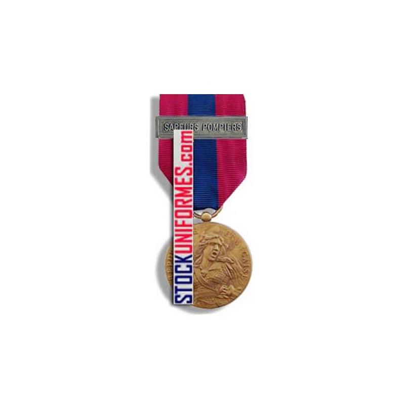 Médaille ordonnance Défense Nationale bronze agrafe Sapeurs-Pompiers