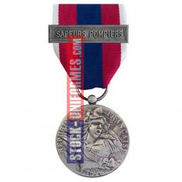 Médaille ordonnance Défense Nationale argent agrafe Sapeurs-Pompiers