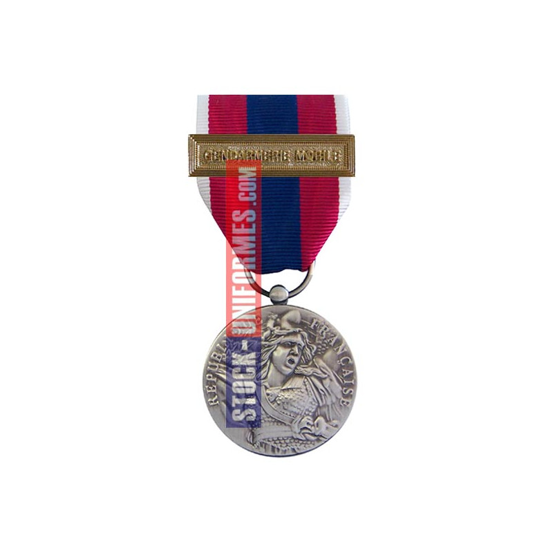 Médaille ordonnance Défense Nationale argent agrafe Gendarmerie Mobile
