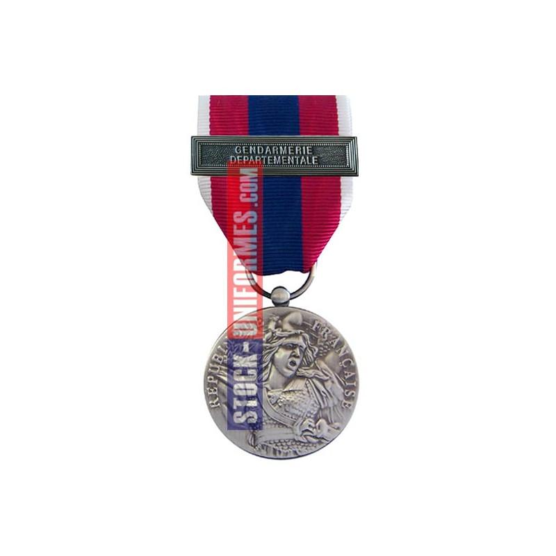 Médaille ordonnance Défense Nationale argent agrafe Gendarmerie Départementale