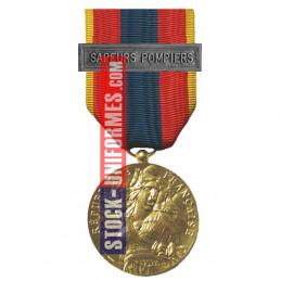 Médaille ordonnance Défense Nationale Or agrafe Sapeurs-Pompiers