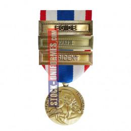 Médaille Protection Militaire du Territoire agrafes Harpie et Egide et Trident
