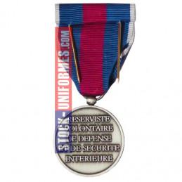 verso - Médaille Argent Réserviste Volontaire de Défense et Sécurité Intérieure