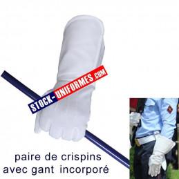 Paire de Crispins avec gant blanc 3 baguettes pour cérémonie garde au drapeau