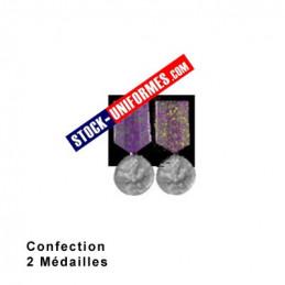 Montage de 2 Médailles ordonnance cousue sur drap noir