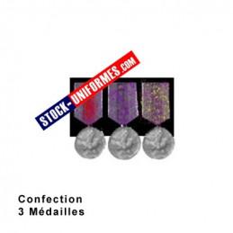 Montage de 3 Médailles ordonnance cousue sur drap noir