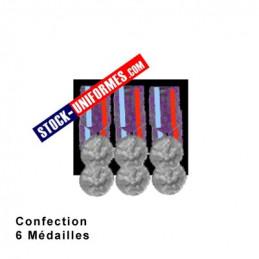 Montage 6 Médailles ordonnance cousues sur drap noir