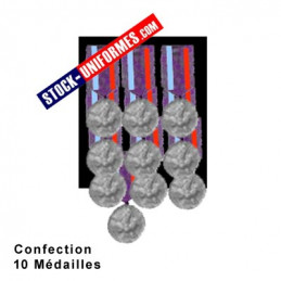 Montage 10 Médailles ordonnance cousues sur drap noir