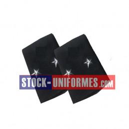 Coulants d'épaules Général 2 étoiles Argent sur drap bleu foncé