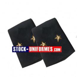 Coulants d'épaules Général 2 étoiles Or sur drap bleu foncé