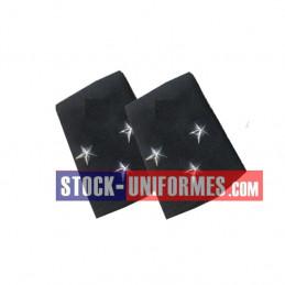 Coulants d'épaules Général 3 étoiles argent sur drap bleu foncé