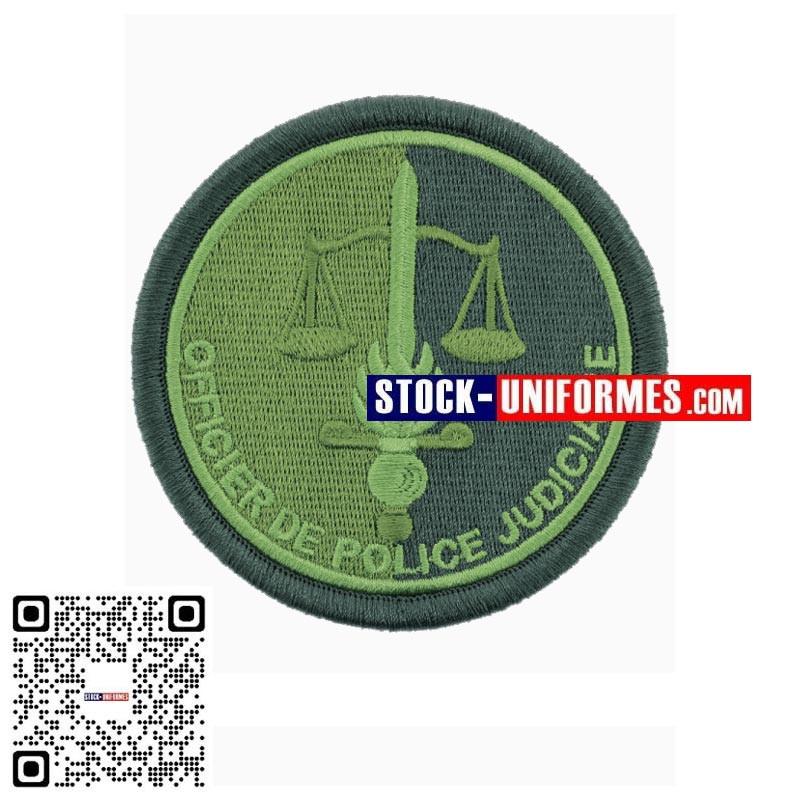 Ecusson brodé basse visibilité Vert OPJ Officier de Police Judiciaire