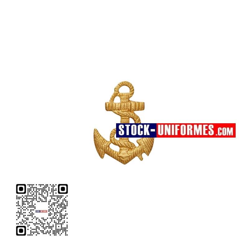 Ancre métal doré avec 2 tiges pour calot TDM Troupes de Marine, se fixe sur le côté gauche du calot