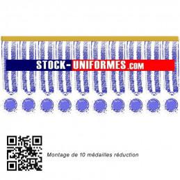 10 médailles réduction cousues sur une barre dorée