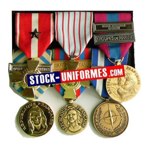 médaille montée sur drap noir pour militaire et pompier | stockuniformes